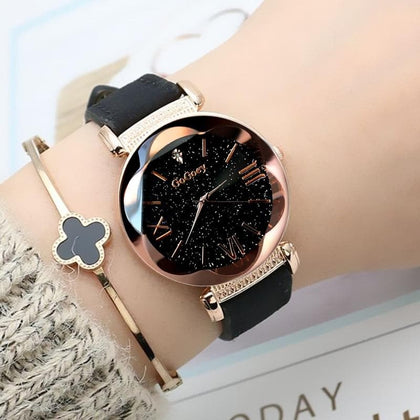 2019 Watches Women Fashion Gogoey Brand Leather ladies dress Personality romantic starry sky quartz wristwatch reloj mujer - Go Buy Dubai