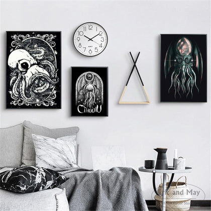 Lovecraft Octopus Cthulhu Art Posters And Prints Wall Art Canvas Painting For Living Room Decoration Home Decor Unframed Quadros - Go Buy Dubai