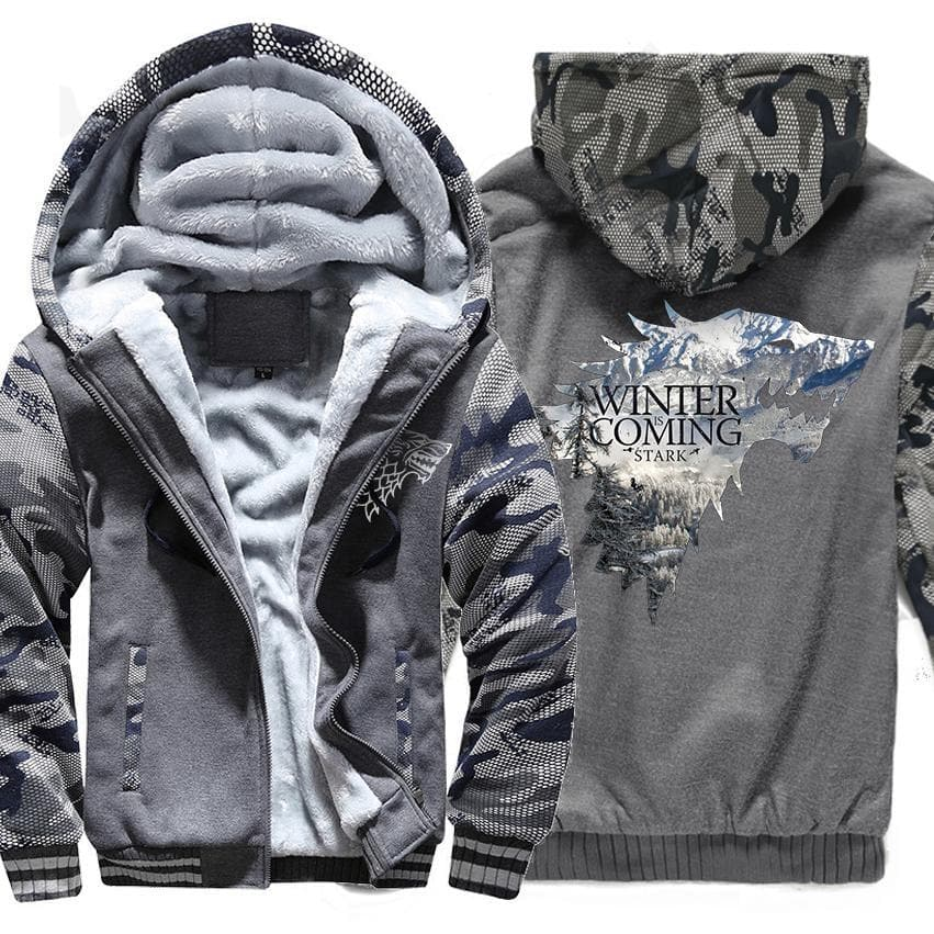Camouflage Hooded Stark House Men's Thick Sweatshirt