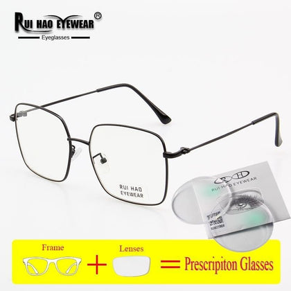 Square Prescription Eyeglasses Men Women Glasses Frame Unisex Fashion Design Optical Glasses Myopia Resin Lenses Spectacles 0095 - Go Buy Dubai