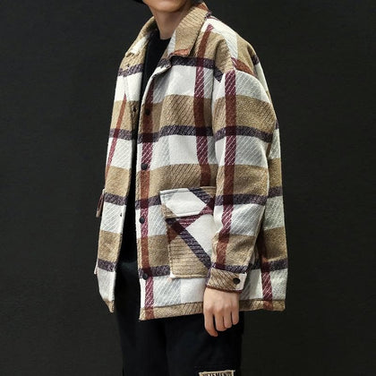 Men's Trench Khaki 2019 Winter Plaid Design Woolen Coat Men Fashion Single Breasted Pea Jacket Big Size 5XL Red Overcoats #3093 - Go Buy Dubai