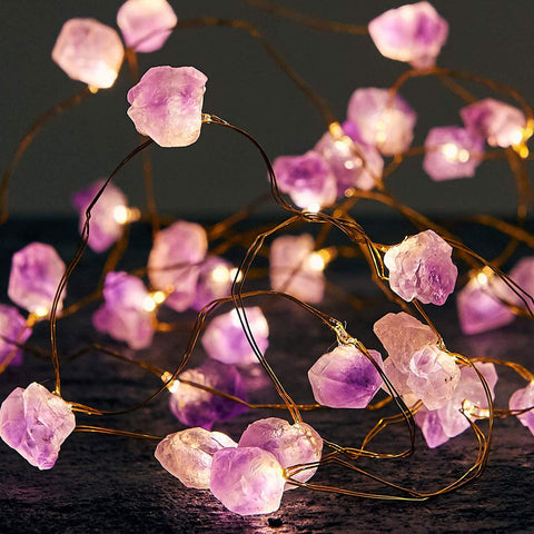 Amethyst LED String Lights Battery Operated with Remote, 10 ft 30 LEDs Natural Crystal String Lights for Bedroom Party Indoor Birthday Wedding Decor
