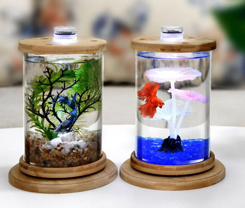 LED Aquarium 360 Rotation Mini Desktop Fish Tank High Borosilicate Glass with Decoration Leaf and Sand for Home/Office