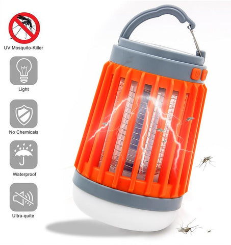 Solar / Battery Power Mosquito Trap Lamp Killer Zapper LED Flashlight Camping Lantern 3-in-1 , Waterproof, Rechargeable Battery, Retractable Hook