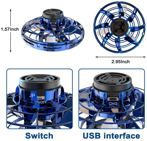 Flying Toys Drones for Kids/Adults,Hand Operated Drones Mini UFO Drone Aircraft with Automatic Return and 360° Rotating Shinning LED Lights