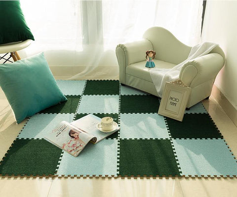 Interlocking Fleece Carpet Rug Foam EVA Mat Interlock Tiles Kid's Playmat Soft & Non-slip, 10 Tiles