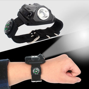 Wrist LED Light Flashlight Wristlight Rechargeable Waterproof Watch Flashlight with Compass Tactical Flashlights for Outdoor Running, Hiking, Camping, Biking