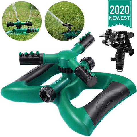 Lawn Sprinkler 3 Arm with Impact Sprinkler, Automatic 360 Degree Rotating, Adjustable Angle and Distance, Garden Water Sprinkler Lawn Irrigation System