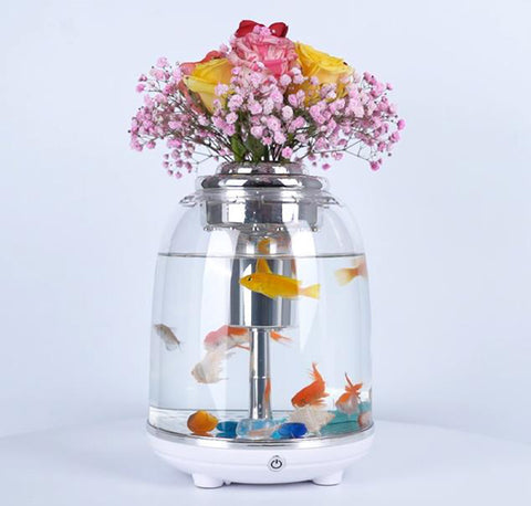 1.45 Gallon USB Aquarium Portable Fish Tank with LED Lighting and Water Pump, High Transparent Polycarbonate, Non-fragile and Gorgeous