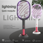 Electric Bug Zapper Trap Lamp & Mosquitoes Racket Swatter 2 in 1 with Base Support, USB Quick Rechargeble