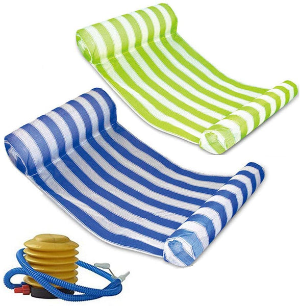 One Swimming Pool Float Hammock, Multi-Function Inflatable Water Hammock Lounger Raft with Air Pump, 3 Colors