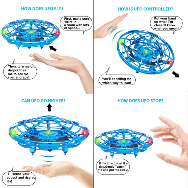 Mini Drone Flying Toy Hand Operated Drones for Kids or Adults - Hands Free UFO Helicopter