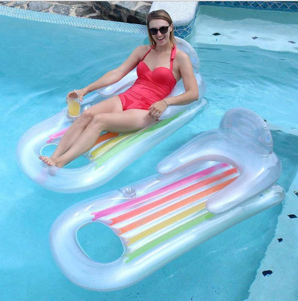 Swiming Pool Float Lounge Raft Inflatable Blow Up Floatie 64x33in
