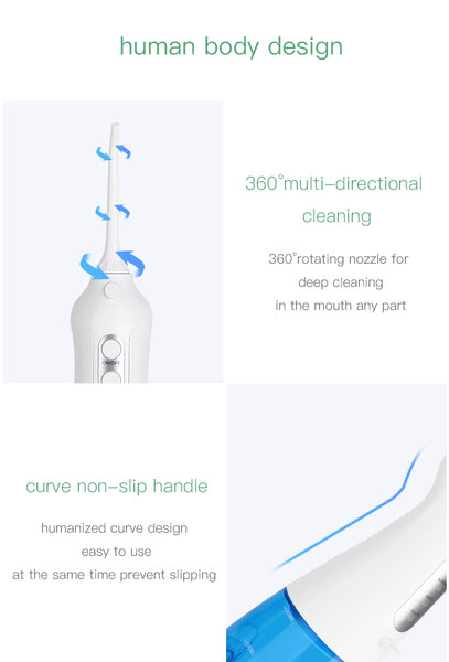 Portable Dental Oral Irrigator  Professional Cordless Water Flosser - 300ML Water Tank, 3 Modes, IPX7 Waterproof, USB Rechargeble