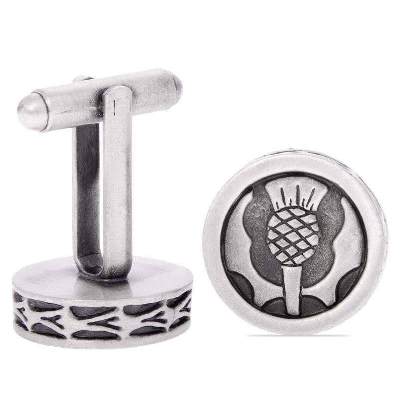 Thistle Pewter Enamel Cufflinks - Antique Finish