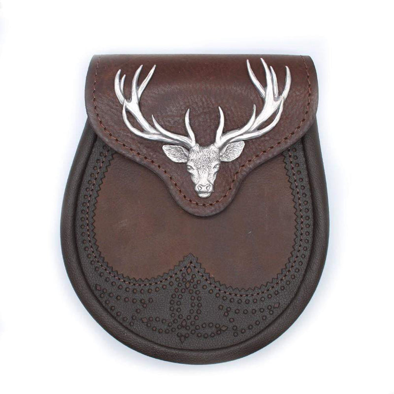 Brown Stag Head Leather Sporran