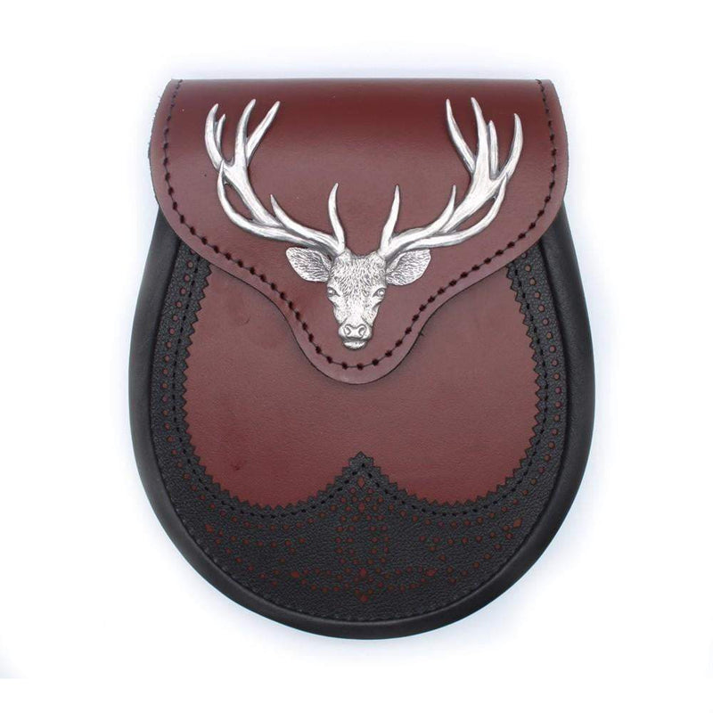 Ox Blood and Black Stag Head Leather Sporran