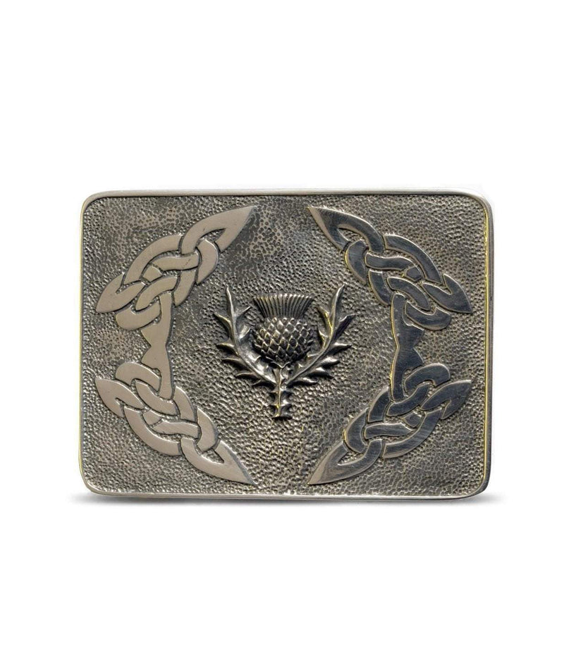 Detailed Thistle Deluxe Pewter Kilt Belt Buckle