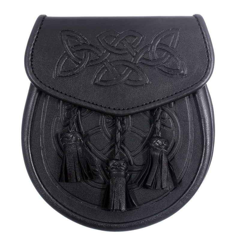 Black Leather Celtic Swirl Embossed Sporran