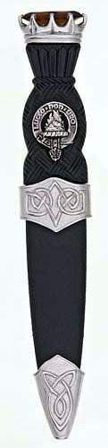 Clan Crest Celtic Sgian Dubh, Chrome Stone Top  - Made to Order
