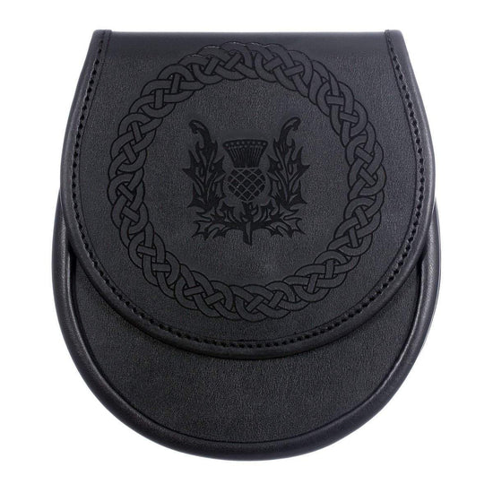 Black Leather Etched Sporran - Thistle Design