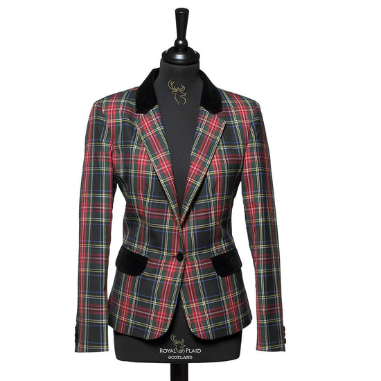 Ladies Tartan Blazer in Black Stewart