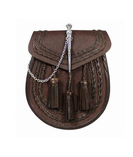 Brown Leather Braided Sporran - Thistle Pin Lock