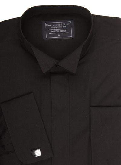 Wing Collar Formal Dress Shirt - Black