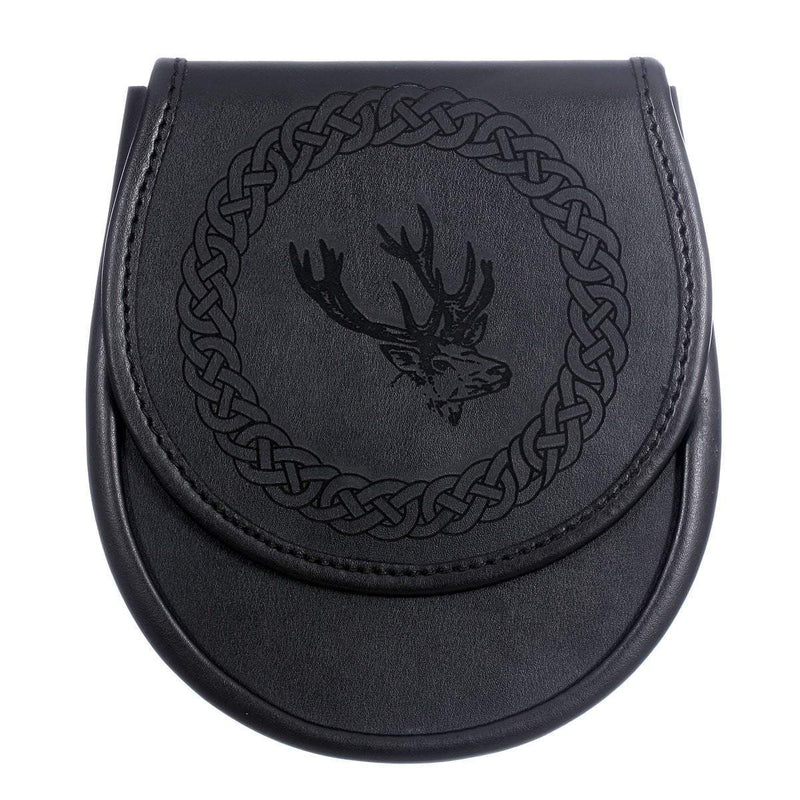 Black Leather Etched Sporran - Stag Design