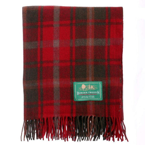 Wool Tartan Knee Rug - Dark Maple