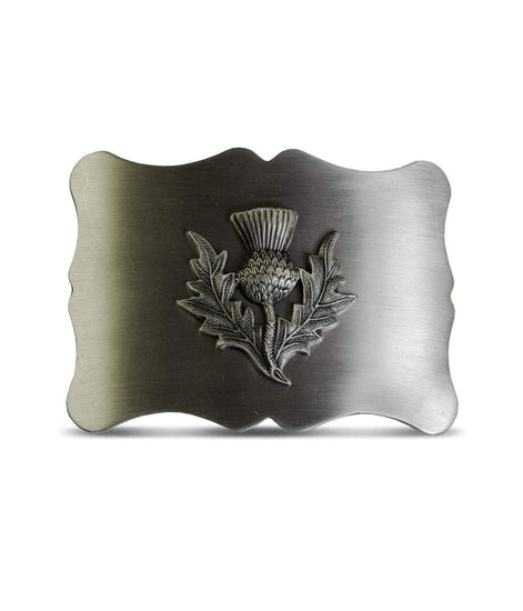 Thistle Scalloped Shaped Belt Buckle - Antique Finish