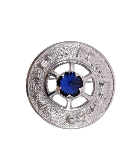 Miniature Thistle Design and Blue Stone Brooch - Chrome Finish