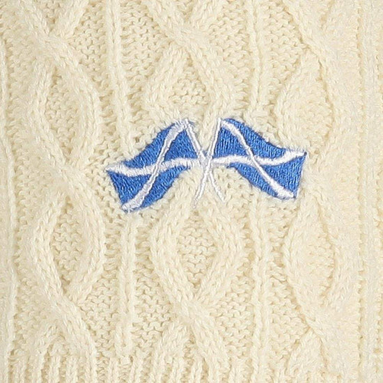 Men's 50% Kilt Hose - Cream/Crossed Saltire