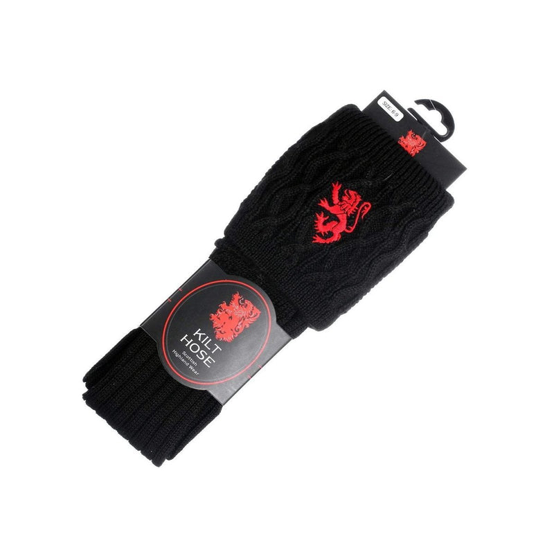 Men's 50% Kilt Hose - Black/Red Lion