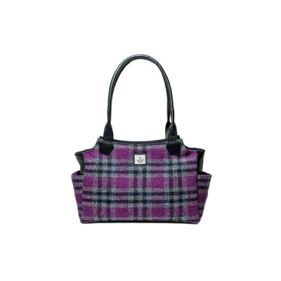 Authentic Scottish Harris Tweed - Day Bag - Pink Check