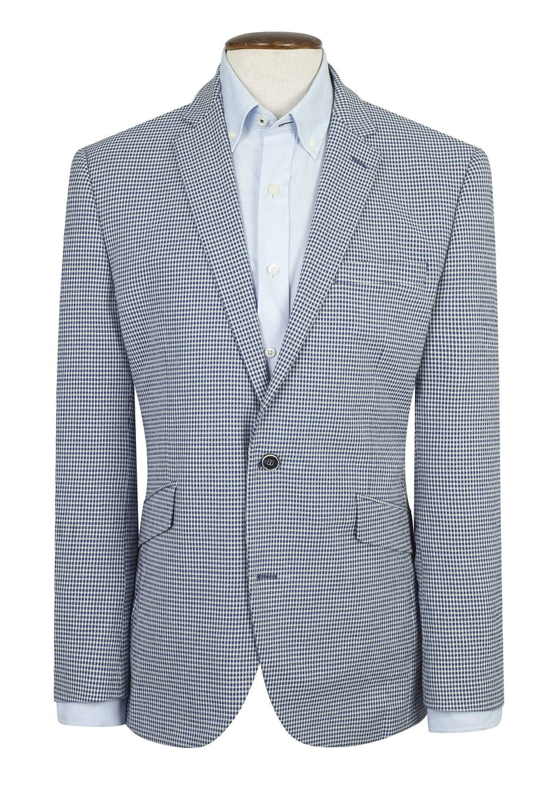 Carroll Tailored Fit Blue Check Jacket by Brook Taverner