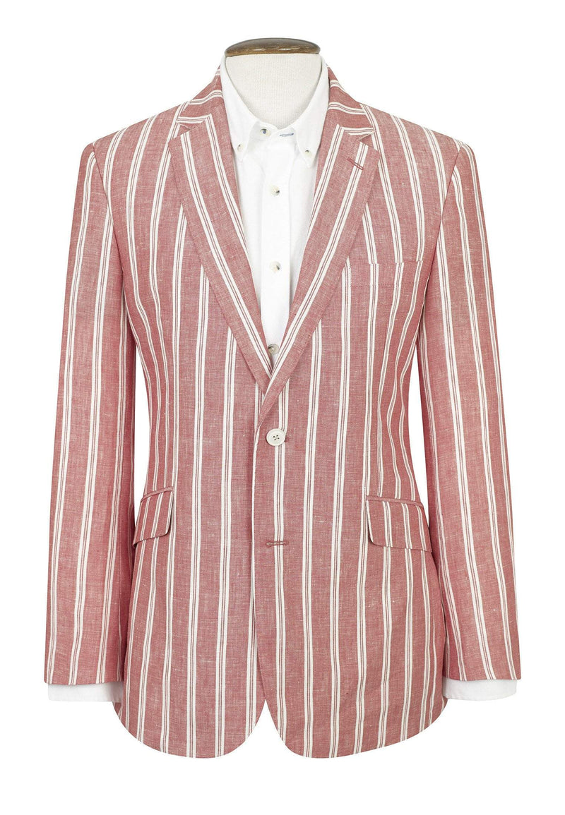 Awdry Classic Fit Coral Stripe Jacket by Brook Taverner