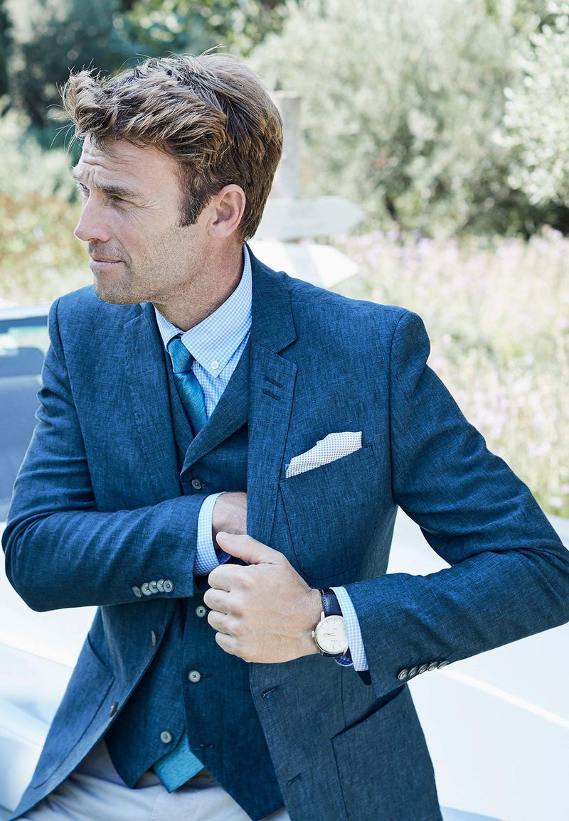 Dickens Fashion Fit Blue Linen Jacket by Brook Taverner