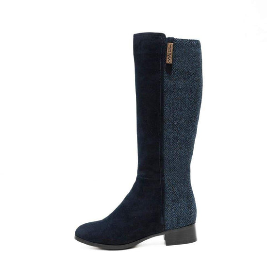 Ladies Harris Tweed Knee High Boots by Snow Paw - Navy