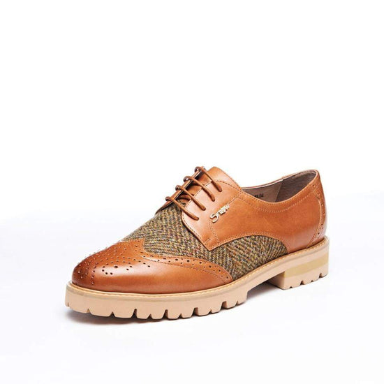 Ladies Harris Tweed Brogues by Snow Paw - Chestnut