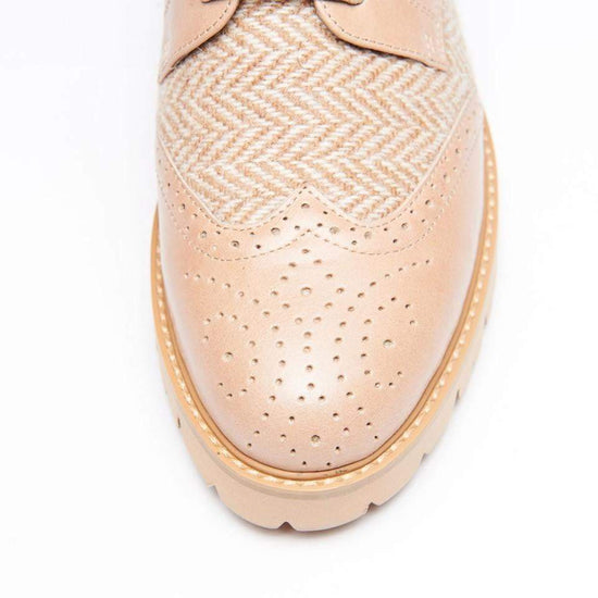 Ladies Harris Tweed Brogues by Snow Paw - Cream