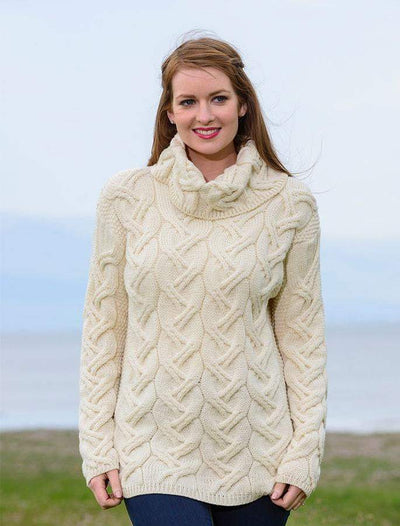 Ladies Chunky Cable Wool Sweater by Aran Mills - 4 Colours