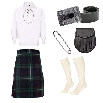 7 Piece Gold Kilt Package - Including 5 Yard Kilt, Sporran and Kilt Pin