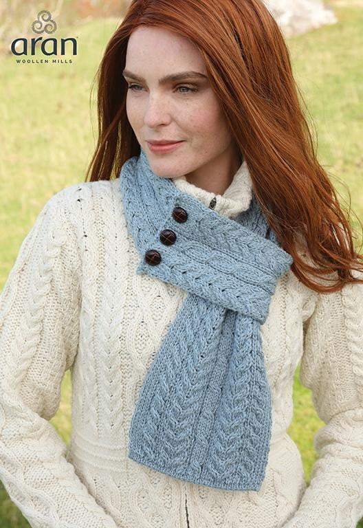 Ladies Merino Wool Buttoned Loop Scarf by Aran Mills - 10 Colours