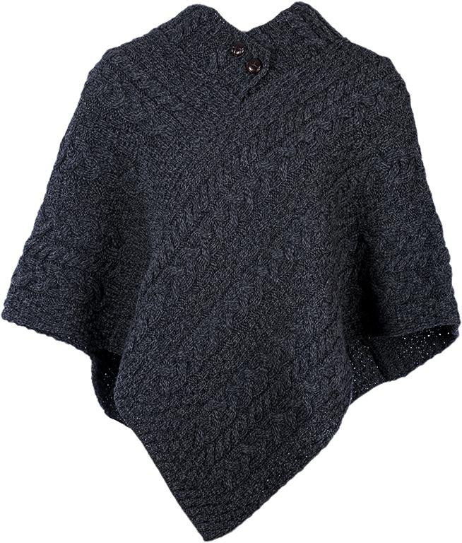 Ladies Merino Wool Poncho by Aran Mills - 10 Colours