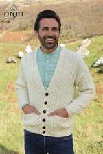 Men's V-Neck Button Cardigan by Aran Mills - 2 Colours