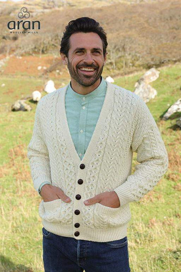 Mens Merino Wool V-Neck Button Cardigan by Aran Mills - 4 Colours