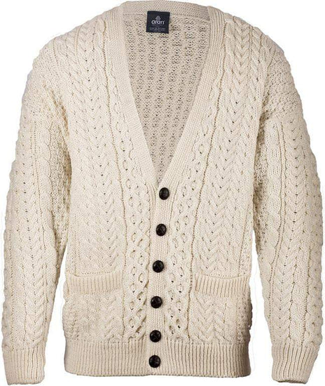 Mens V-Neck Button Cardigan by Aran Mills - Cream