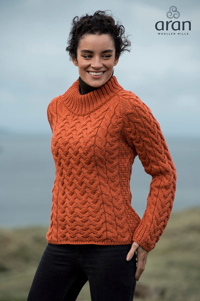 Ladies Merino Wool Shaped Crew Neck Sweater by Aran Mills - 7 Colours