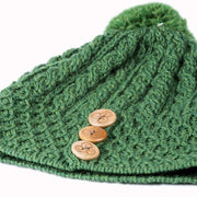 Ladies Merino Wool Button Detail Hat with Bobble by Aran Mills - 12 Colours